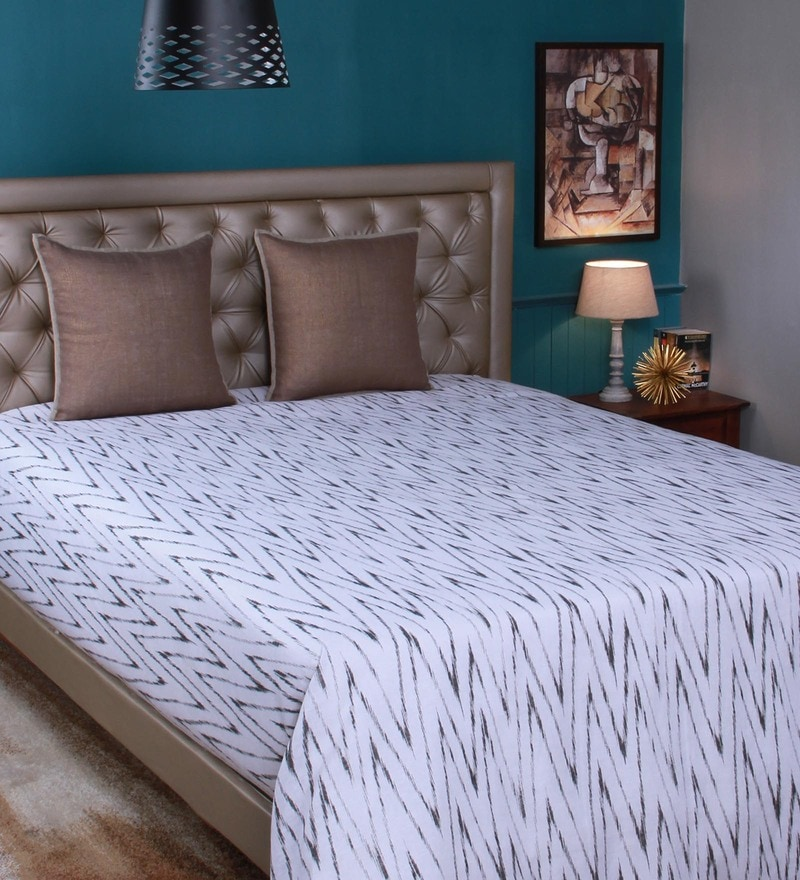 White Linen King Size Bedsheet by Milano Home