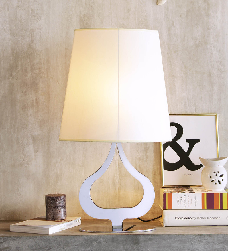 White Linen Phyton Table Lamp by Jainsons Emporio