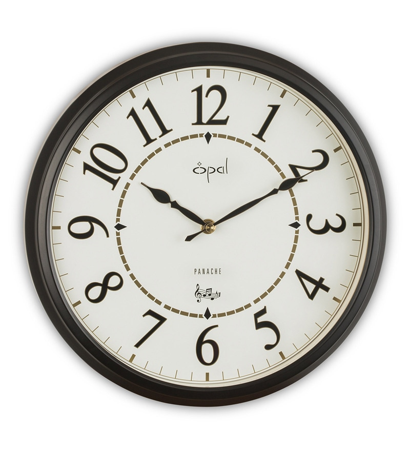 White Metal 11.5 Inch Case Westminster Chime & Strike Wall Clock by Opal