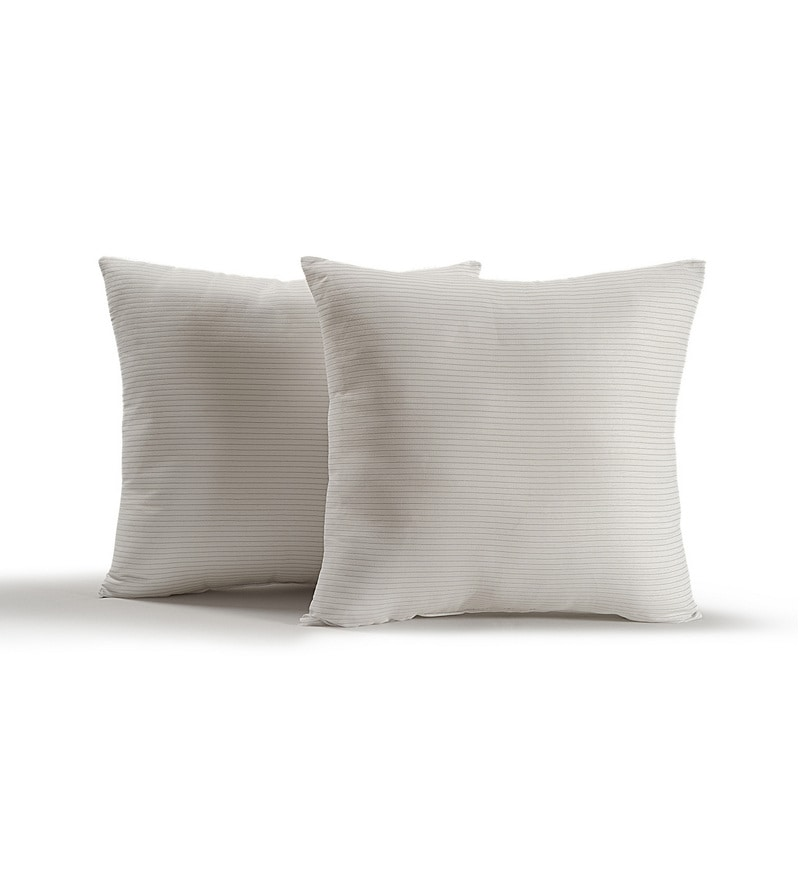 White Polyester 16 x 16 Inch Cushion Inserts - Set of 2  by Swayam