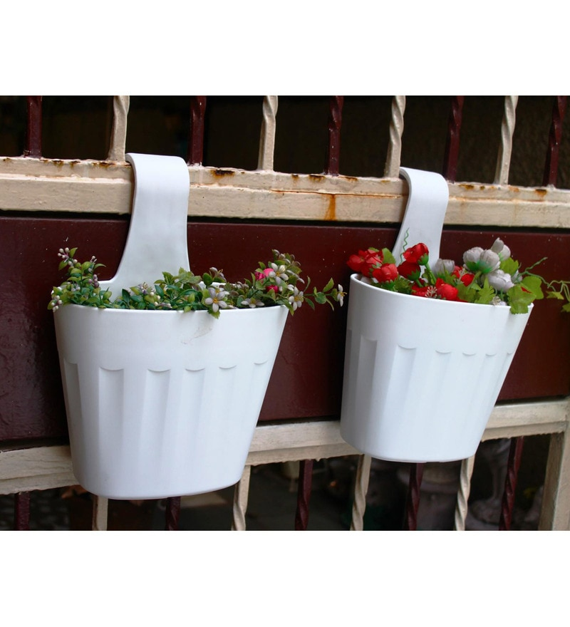 White PVC Rail Planters by Wonderland - Set of 2