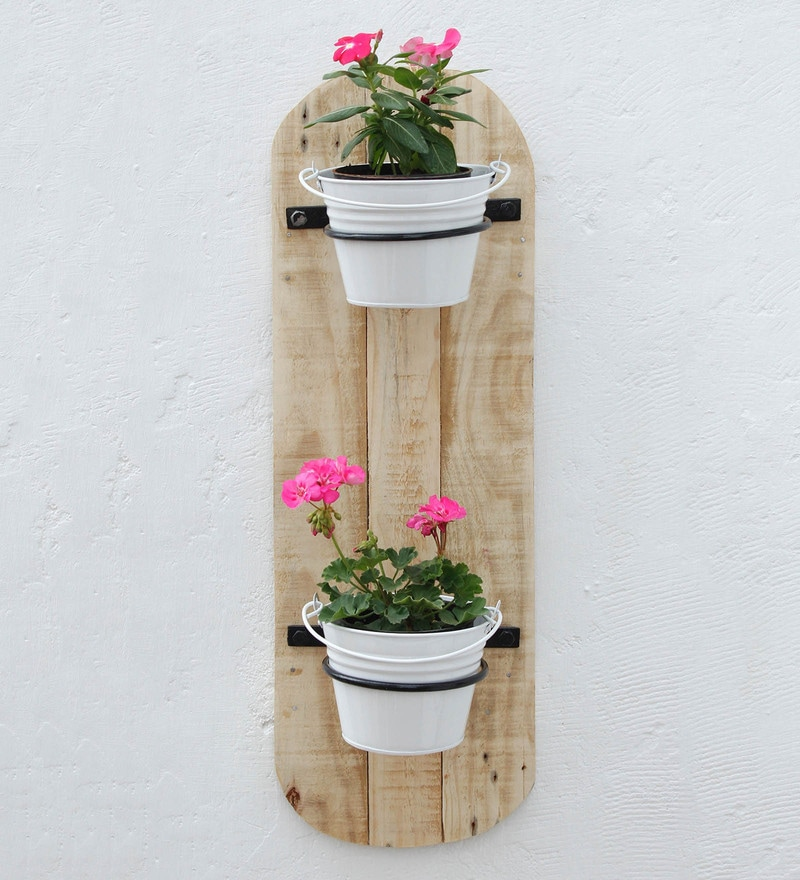 White Wood & Metal Vertical Wall 2 Pot Holders by Green Gardenia
