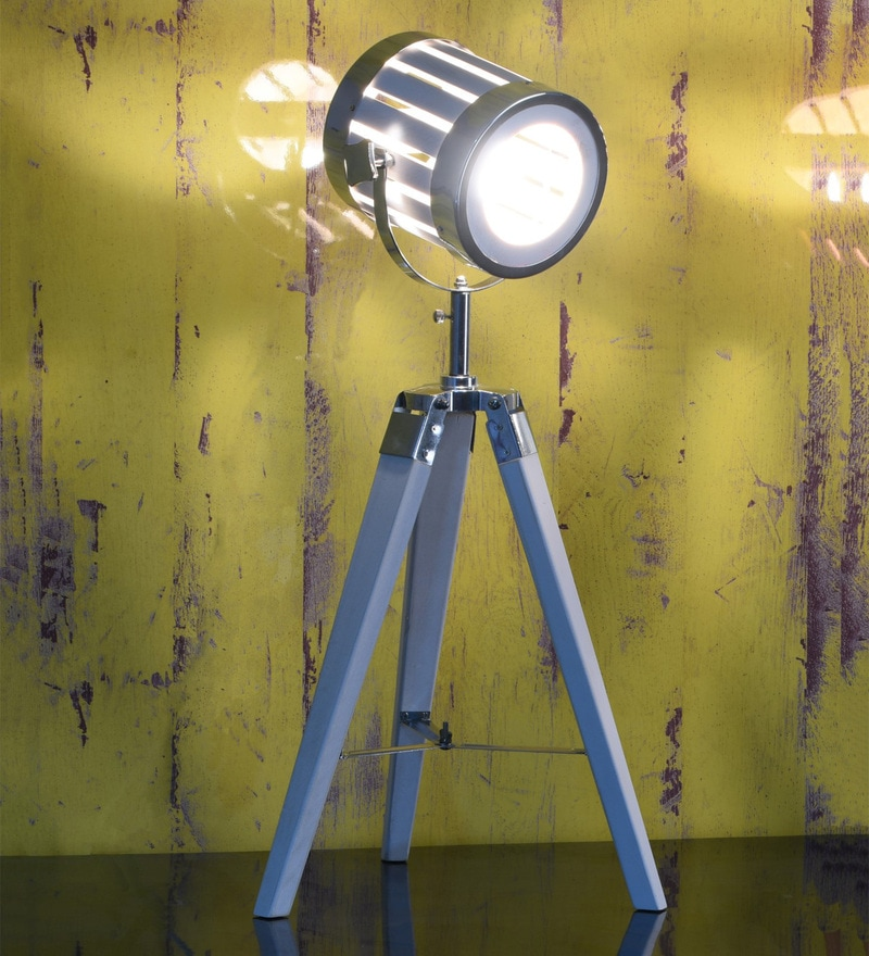 White Wood Table Tripod Spotlight Lamp by OddCroft