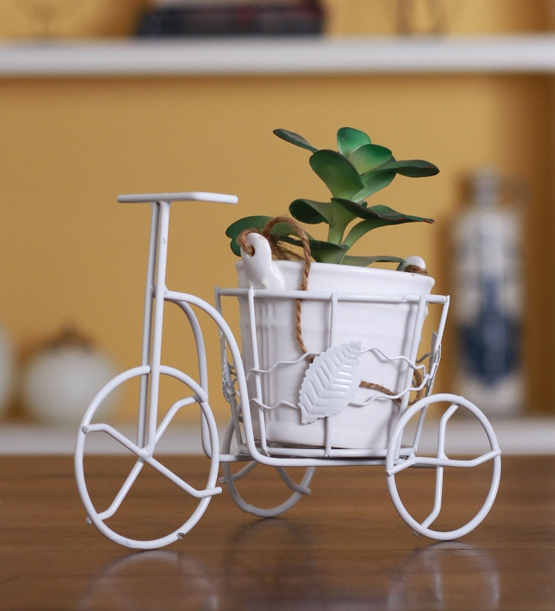 White Wrought Iron Small Tricycle Rickshaw Planter by Fourwalls