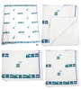 White Blue Green Toy Train Print Baby Quilt in White Colour by Cocobee