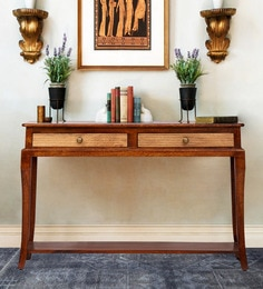 Wilma Console Table In Light Honey And Walnut Finish