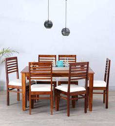 Winona Ivy Six Seater Dining Set In Honey Oak Finish