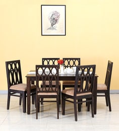 Wisconsin Six Seater Dining Set In Warm Chestnut Finish