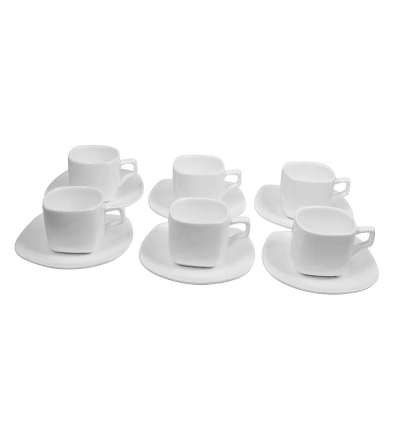 Wilmax England Porcelain 90 ML Coffee Cup & Saucer - Set Of 6