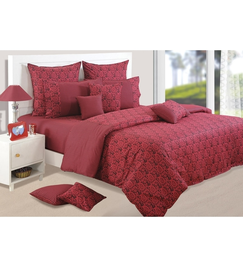 Wine Cotton King Size Bedsheet - Set of 3 by Swayam