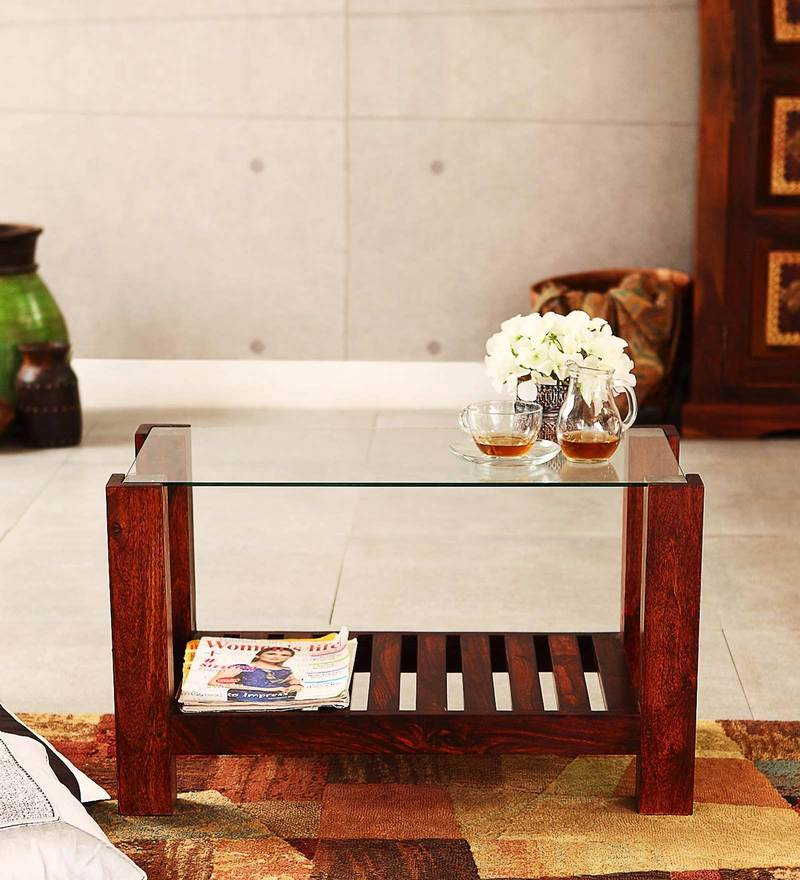 Winona Glass Top Coffee Table in Honey Oak Finish by Woodsworth