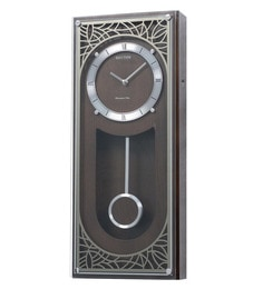 Wooden 9.1 X 3.5 X 21.7 Inch Mirror Finished Laser Cutting Pattern Front Decoration Wall Clock