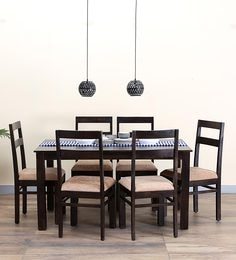 Woodinville Six Seater Dining Set In Warm Chestnut Finish