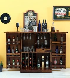Woodway Solid Wood Bar Cabinet In Provincial Teak Finish