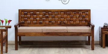 Woodway Solid Wood Three Seater Sofa In Provincial Teak Finish
