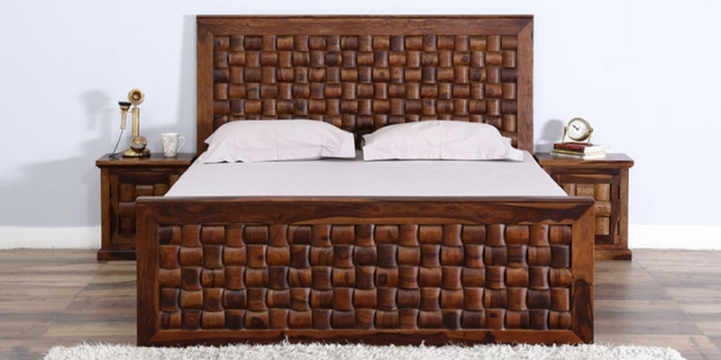 Woodway King Size Bed with Storage in Provincial Teak Finish by Woodsworth
