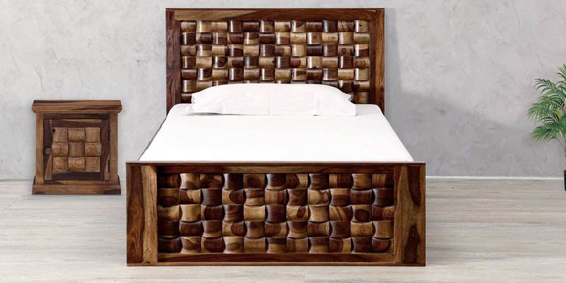 Woodway Single Size Bed in Provincial Teak Finish by Woodsworth