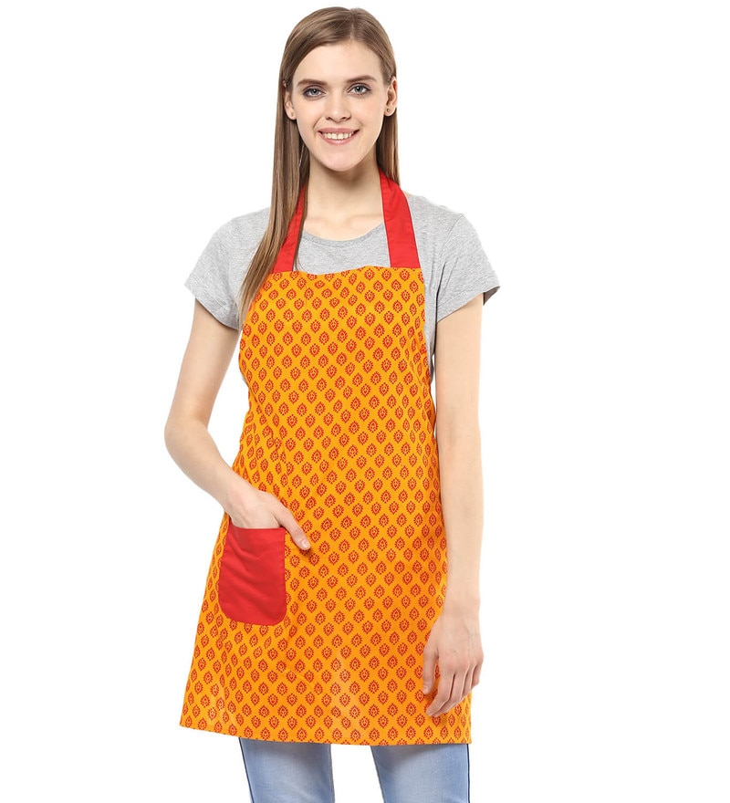 Wobbly Walk Paisley Print Cotton Apron with Oven Glove - Set of 2
