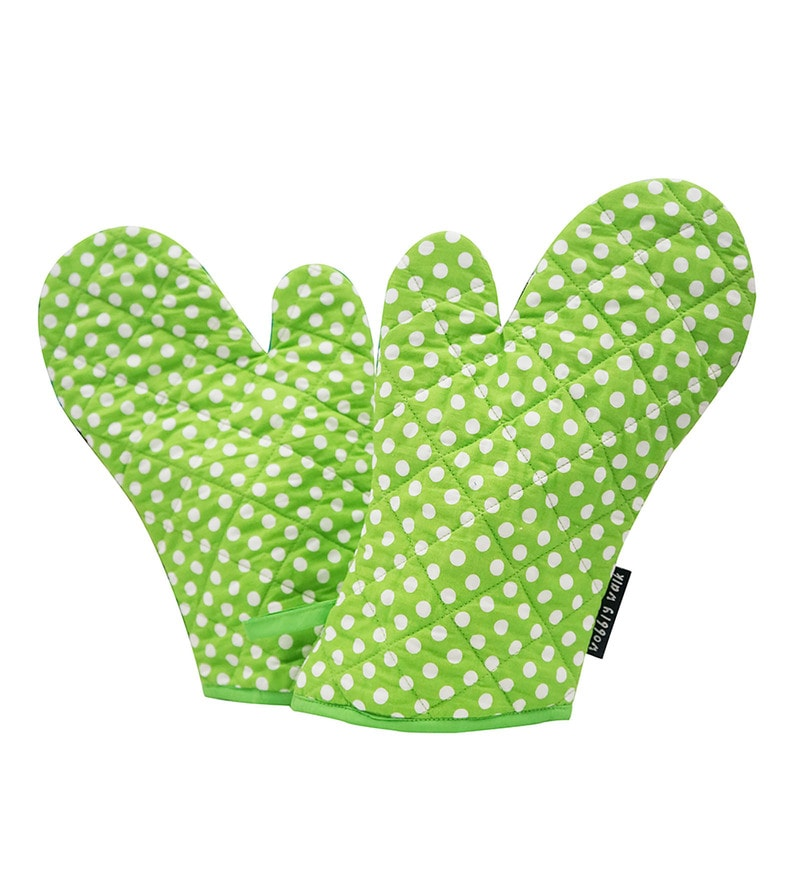 Wobbly Walk Polka Dots Cotton Oven Gloves - Set of 2