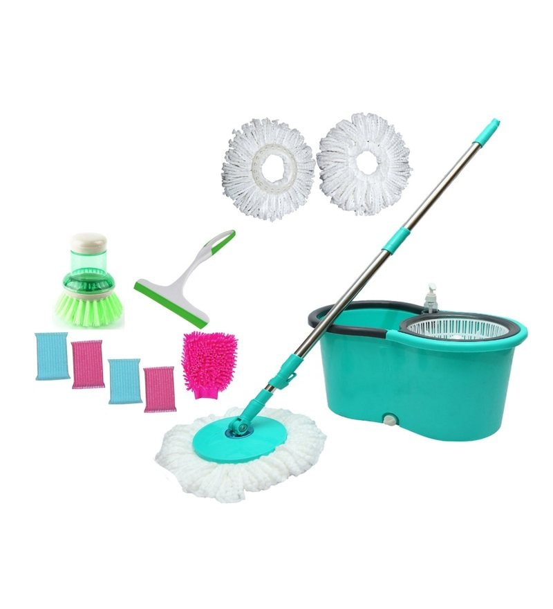 Wonder Plastic Spin Mop with Light Wheels - Set of 11