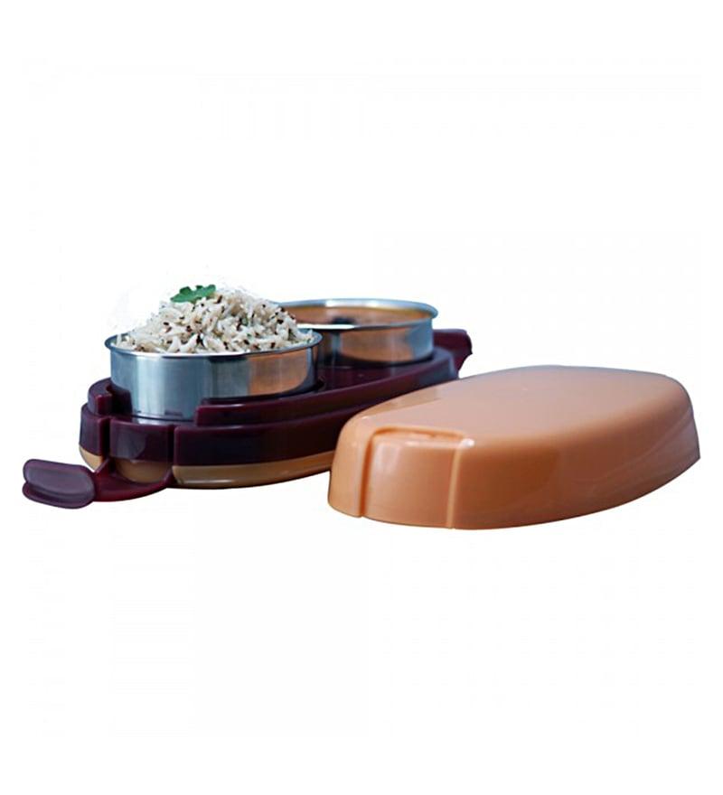 Wonderchef Hot Meal Slim Stainless Steel & Plastic 300 ML Lunch Box