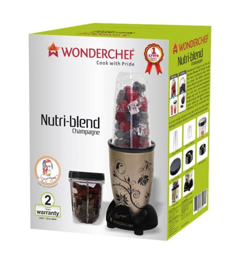 8adce551d Buy Wonderchef Nutri-blend Champagne with Jar 400 W Mixer Grinder ...