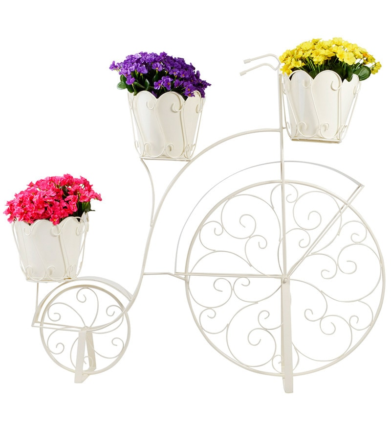White Bicycle Planter with 3 Pots by Wonderland