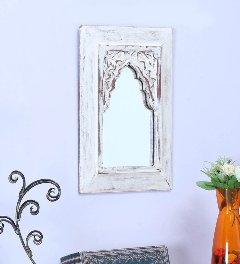 Wood 10 x 1 x 14 Inch White Minaret Small with Carving Mirror by Artisans Rose
