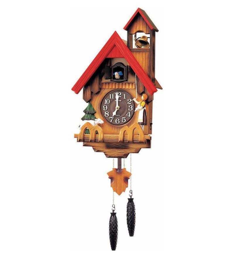 Wooden 12.2 x 6.5 x 25.6 Inch Cuckoo Auto Night Shut Off Sensor Hourly Mechanical Bird Chirping with Door Cuckoo Clock by Rhythm