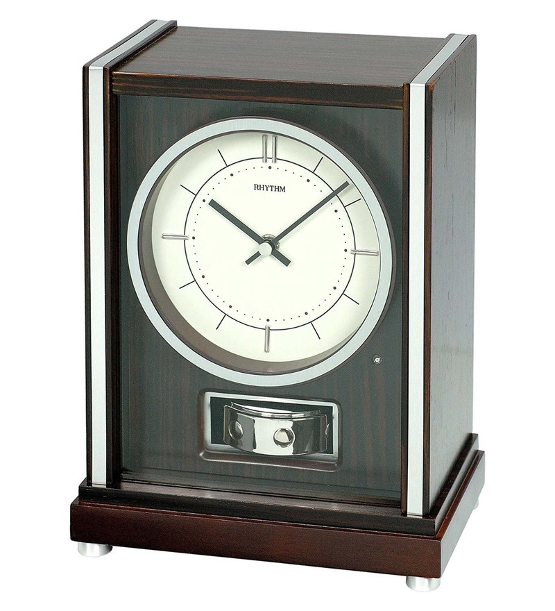 Wooden 8.2 x 5 x 10.8 Inch Real Symphony Rotating Pendulum Clock by Rhythm