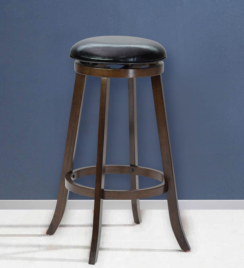 Wooden Bar Stool with PU Seat in Wenge Finish By Marco