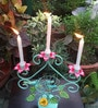 Wonderland Metal Candle Stand with 3 Holders in Sea Green & Pink
