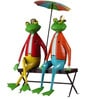 Wonderland Two Frogs on Bench with Umbrella Decoration