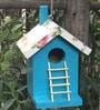 Wonderland Wooden 5.4 inches Height Hanging Decorative Bird House in Blue