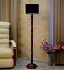 Black Poly Cotton Floor Lamp by Woody Lamp House
