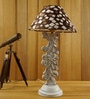 Woody Lamp House Brown and White Poly Cotton Table Lamp
