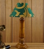Green & Gold Poly Cotton Table Lamp by Woody Lamp House