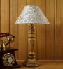 White & Silver Poly Cotton Table Lamp by Woody Lamp House