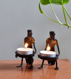 Wrought Iron 2 X 2.5 X 3.5 Inch Tribal Candle Stand - Set Of 2
