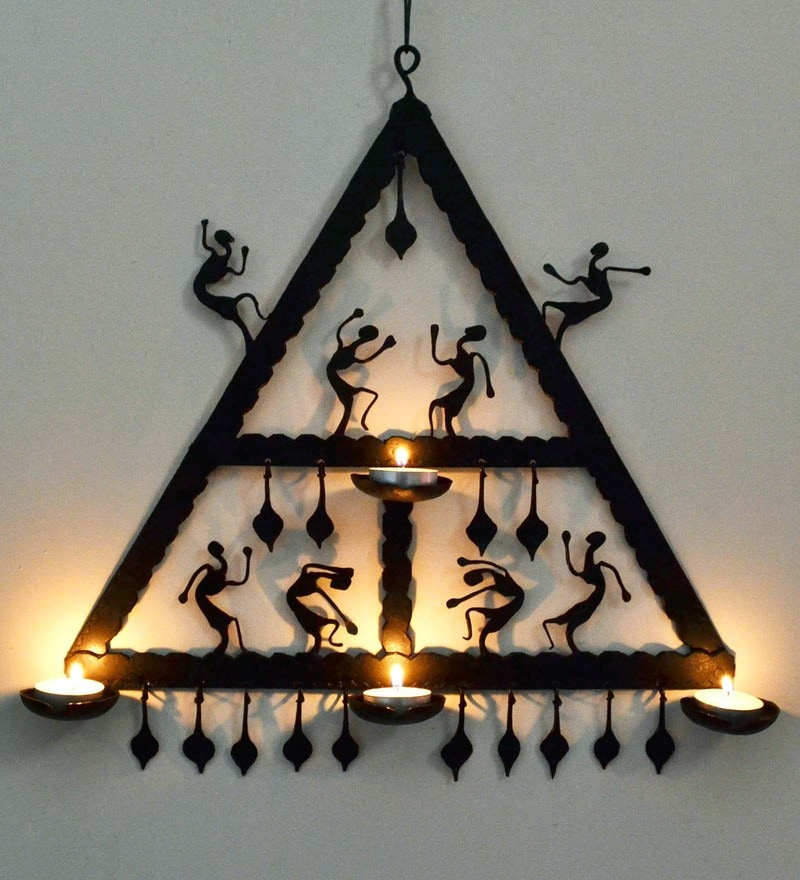 Wrought Iron 14.5 x 2 x 15.5 Inch Triangle Wall Hanging by Chinhhari Arts