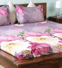 Multicolour Nature & Florals Cotton Queen Size Bed Sheets - Set of 3 by Wraps N Drapz