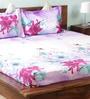 Purples Nature & Florals Cotton Queen Size Bed Sheets - Set of 3 by Wraps N Drapz