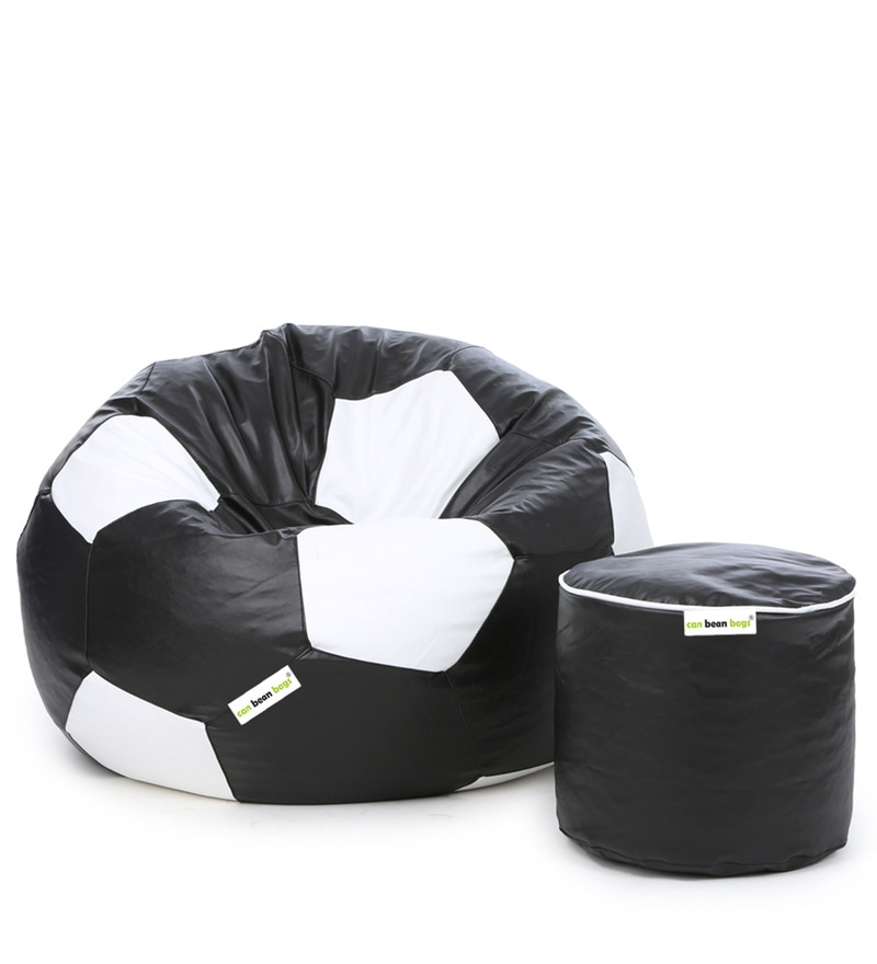 Football Bean Bag Without Beans Cover Pouffe In Black White Colour
