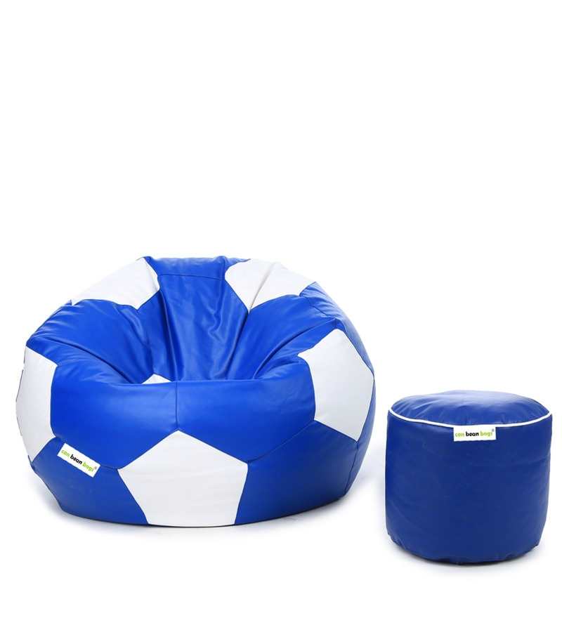 Football Bean Bag (Without Beans) Cover & Pouffe Cover in Blue & White Colour by Can