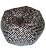 Printed XXL Bean Bag with Beans in Black & Grey Colour by TJAR