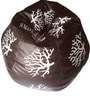 Printed XXL Bean Bag with Beans in Brown & White Colour by TJAR