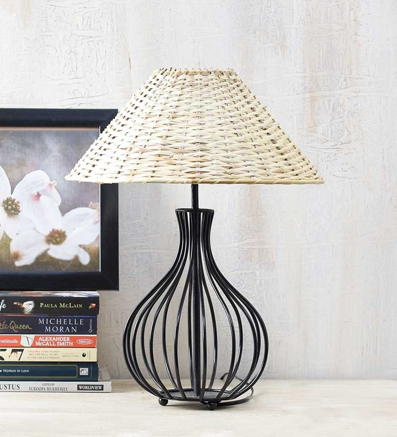 Off-white Cane Wood Lamp Shade by Yashasvi