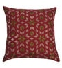 Yamini Maroon Cotton 16 x 16 Inch Floral Embroidered Cushion Cover