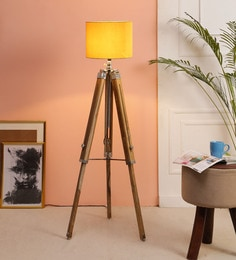 Yellow Fabric Floor Tripod Lamp