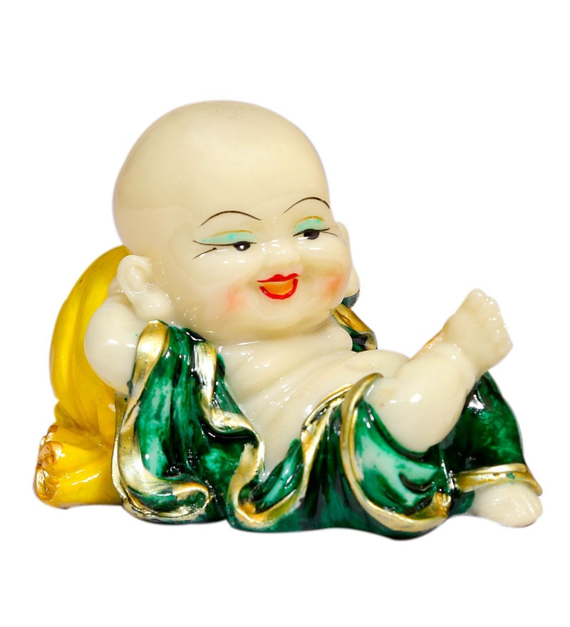Yellow & Green Polyresin Laughing Buddha Idols by Forever